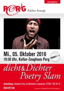 05.10.2016 PERGliest dicht&Dichter Poetry Slam A1 Plakat WEB